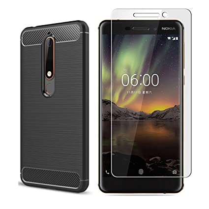 separation shoes 41477 b30a3 Nokia 6.1 Case, Nokia 6 2018 Case,with screen protector. CJ Sunshine (2 in  1)Soft Silicon Case, Shockproof With Protective Cover, Carbon Fiber Design  ...