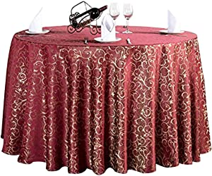 Round Damask Tablecloth,Rectangular Jacquard Polyester Table Cover Lavish Banquet Wedding Tablecloth Tabletop Dining Table Decoration-red Round 340cm/134inch