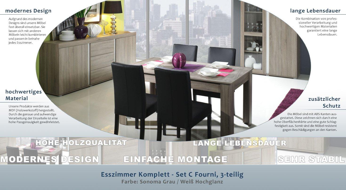 Esszimmer Komplett   Set   Fourni, 3 Teilig, Farbe: Sonoma Grau   Weiß  Hochglanz: Amazon.de: Baumarkt