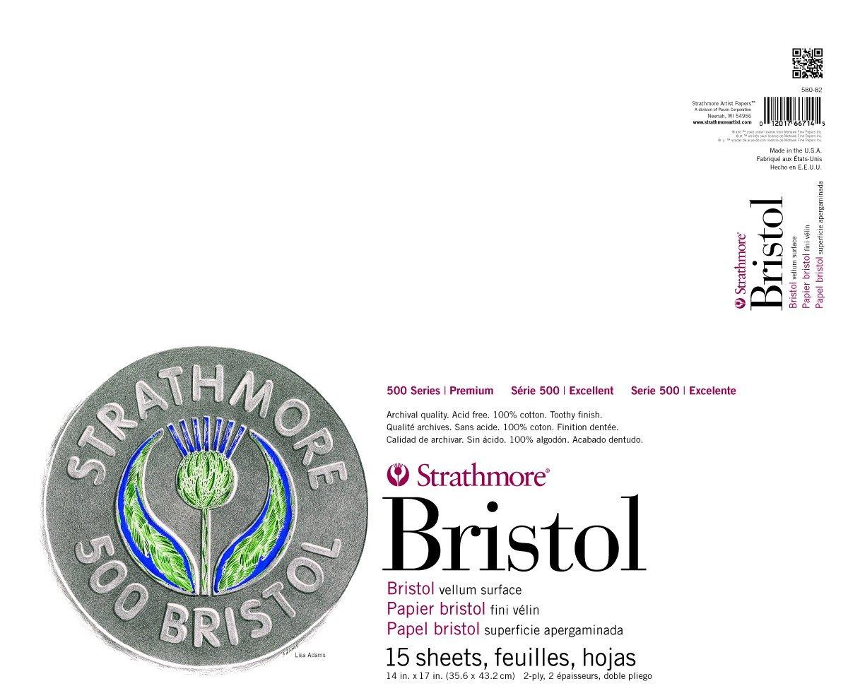 Strathmore 580-82 500 Series Bristol, 2-Ply Vellum Surface, 14''x17'' Tape Bound, 15 Sheets