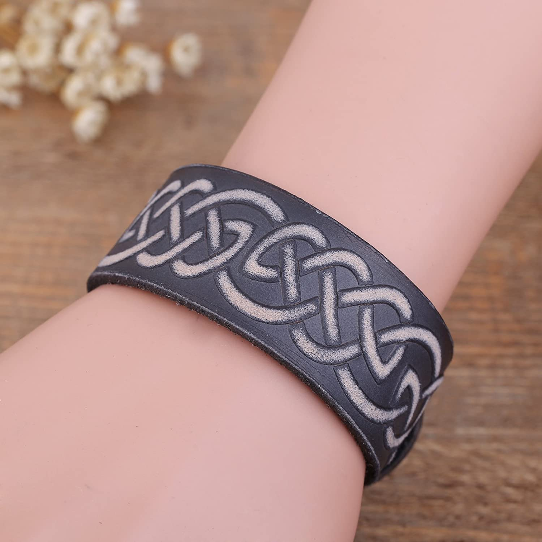 Simple Design Celtic Knot Symbol Wristband Leather Bracelet