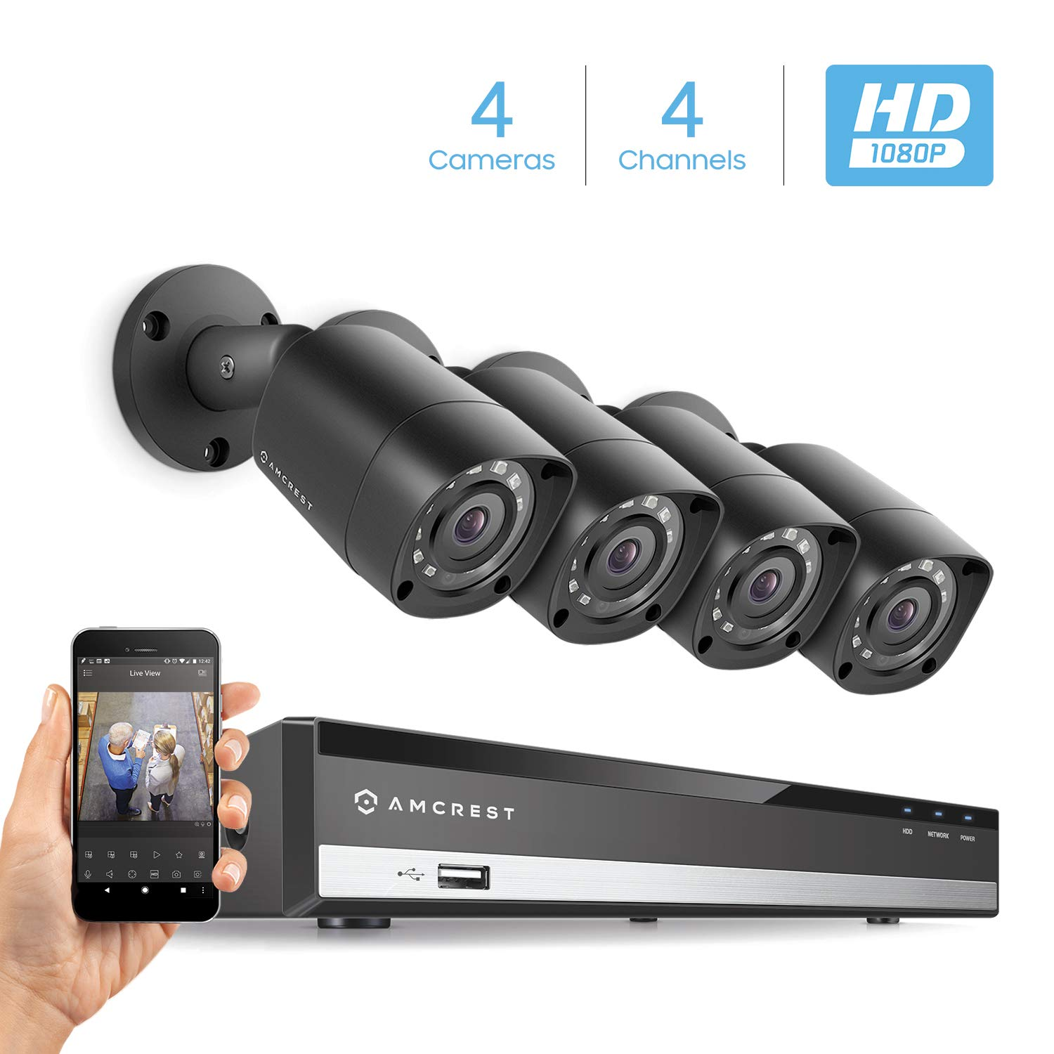 Amcrest Full-HD 1080P 4CH Video Security System w Four 2.0 MP 1920TVL Outdoor IP67 Bullet Cameras, 65ft Night Vision, Hard Drive Not Included, AMDV10814-4B-B