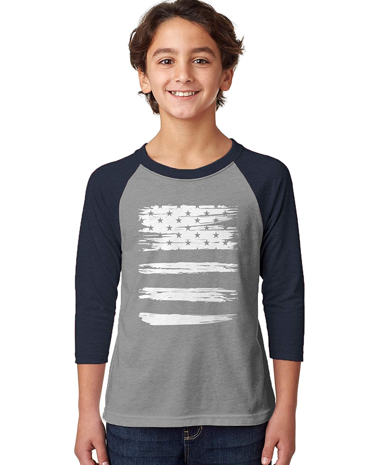 Trendy 4th of July Youth 3//4 Raglan Shirt SpiritForged Apparel White USA Torn Flag
