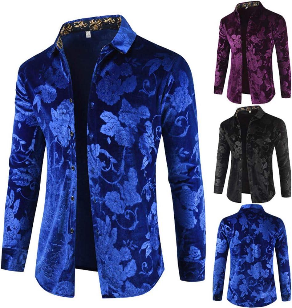 SXZG Camisa de Hombre de Otoño E Invierno Camisa de Manga Larga Camisa de Terciopelo Rosa Camisa de Hombre de Moda Camisa Cálida: Amazon.es: Ropa y accesorios