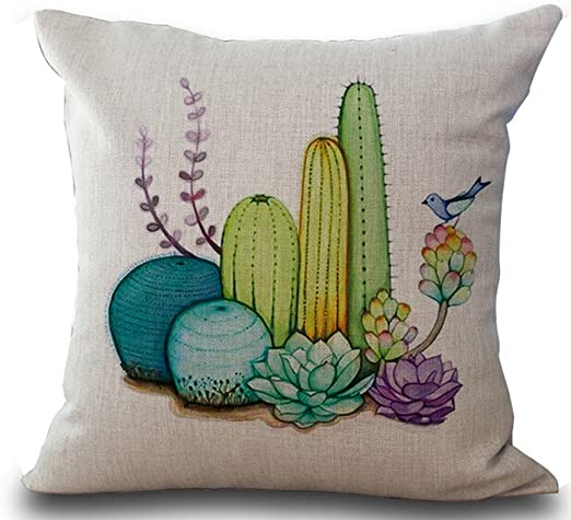 Cotton Home Decor Cactus Cover Potted Sofa Case Linen Cushion Pillow Office