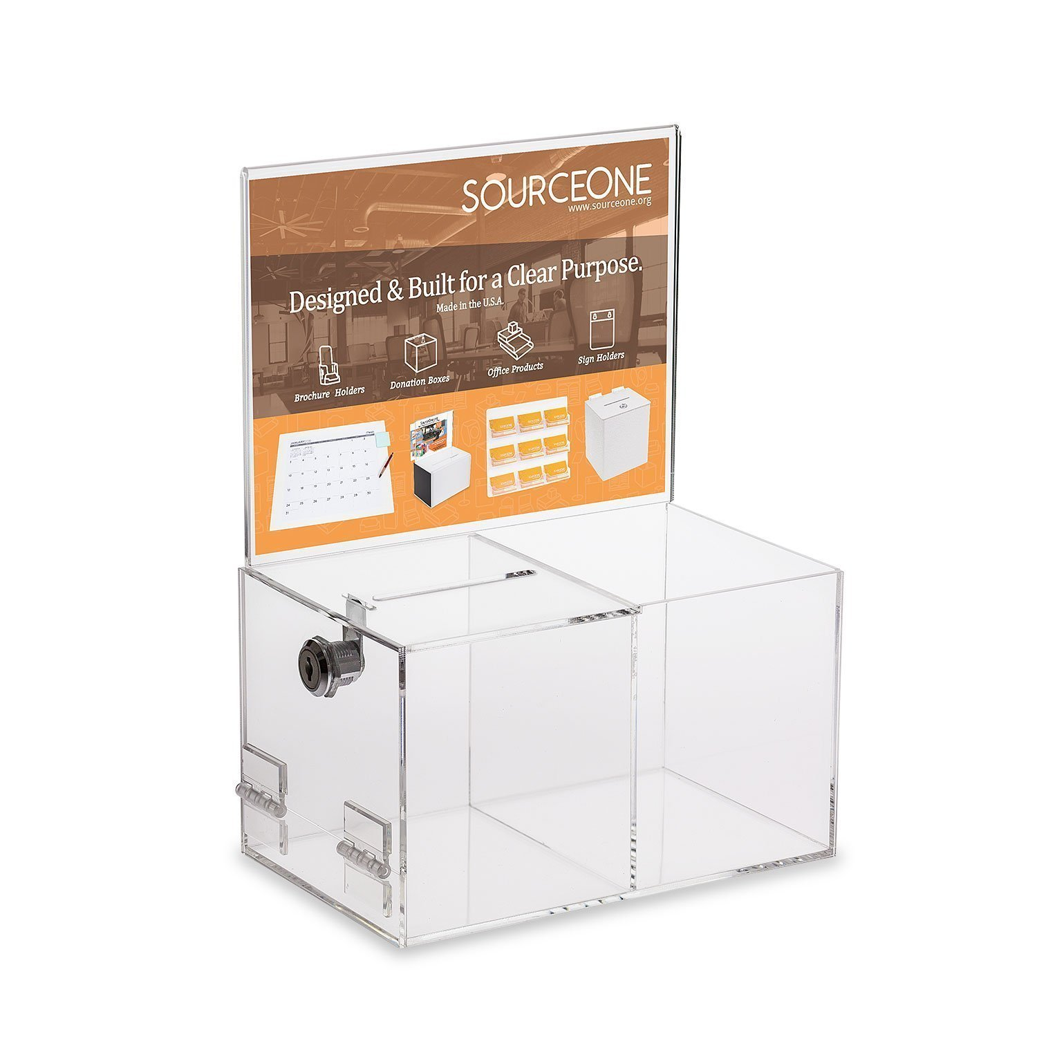 Source One Deluxe Donation Box - Collection Box - Tip Container - With Two Compartments for Give & Take- Treat or Prize Compartment (1-Pack)
