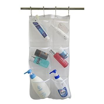 Hanging Mesh Bath Shower Caddy Organizer With 6 Clear Storage Pockets,  Space Saving Organizer Bathroom
