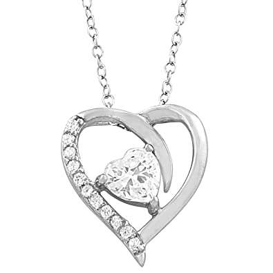 Amazon sterling silver clear cubic zirconia april birthstone sterling silver clear cubic zirconia april birthstone heart necklace 18 inch aloadofball Gallery