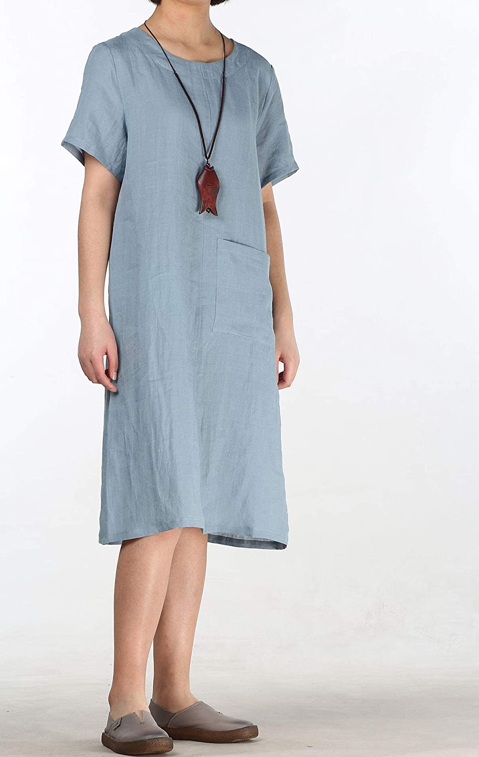1920s Downton Abbey Dresses Mordenmiss Womens Linen Dresses Simple Short Sleeve T-Shirt Tunic Dress $29.99 AT vintagedancer.com