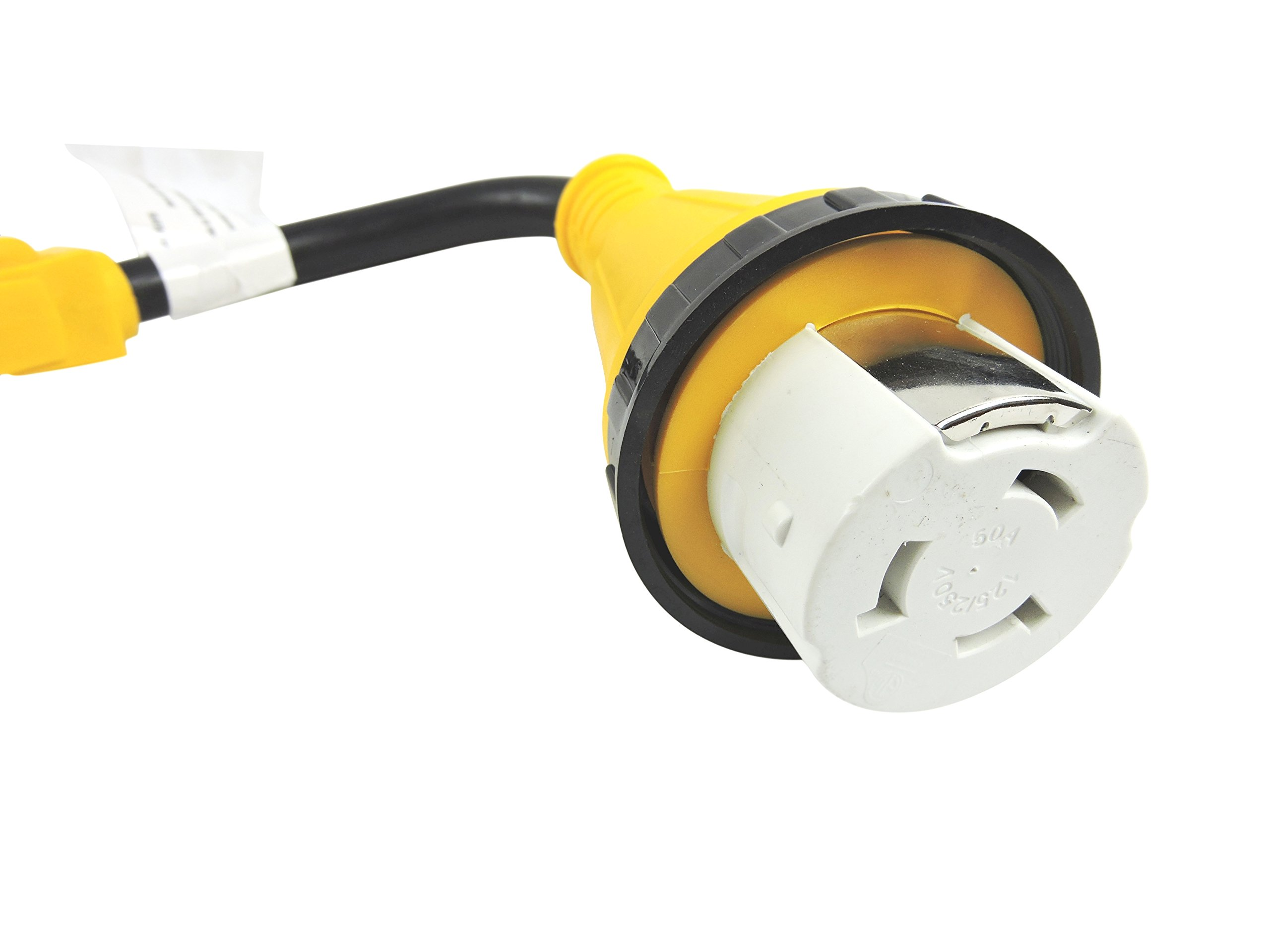 LeisureCords Trailer dogbone power cord plug adapter 15 amp male to 50 amp female locking connector with LED Indicator (15 Male - 50 Female Twist) by Leisure Cords (Image #2)