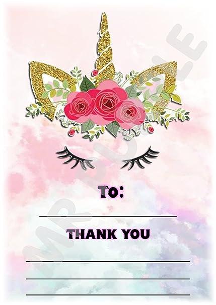Tarjetas de agradecimiento con diseño de unicornio para ...