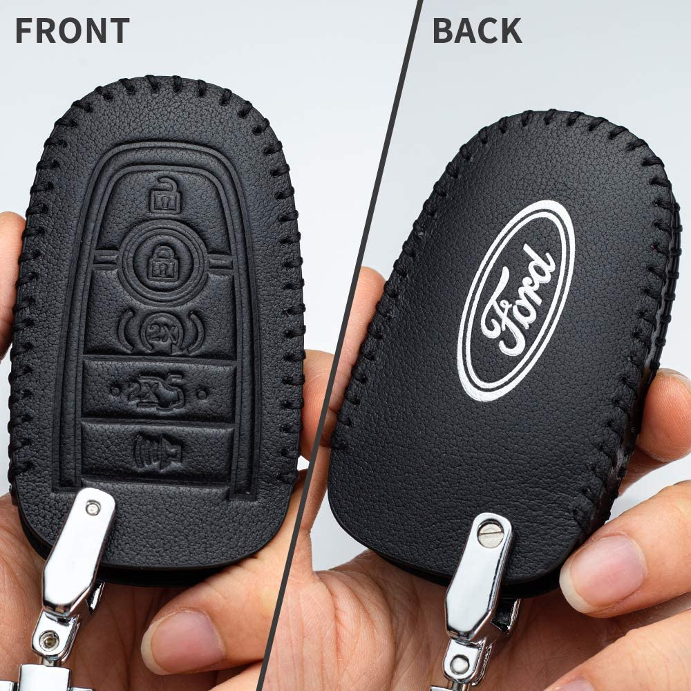 Car Key fob Cover Key case for Ford Genuine Leather Protector Keychain 2018 2019 Ford Fusion F150 F250 F350 F450 F550 Edge Explorer Escape Mustang Key fob Cover 5 Buttons