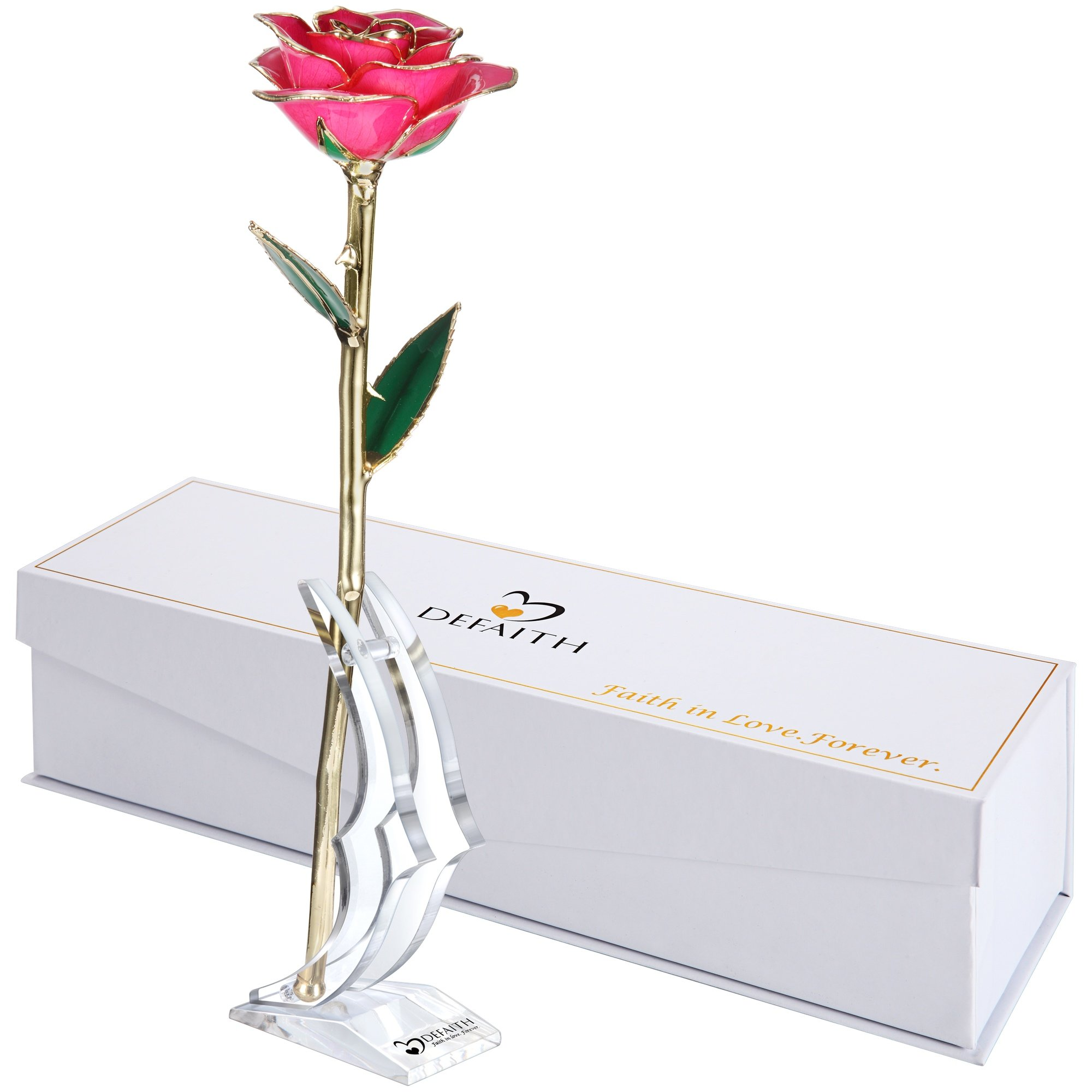 DeFaith Pink Gold Rose, Unique for Wife Girlfriend Her Women Mother, Made from Real Rose Flower with Stand