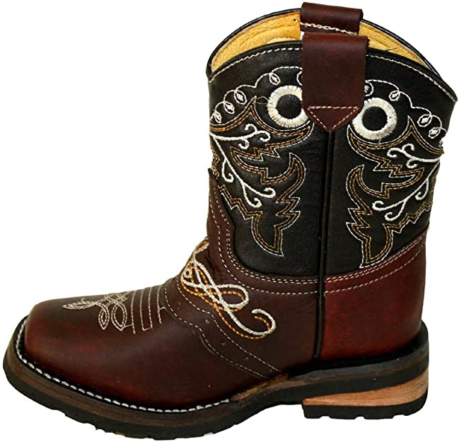 Kid/'s childrens toddler cowboy boots leather square toe rodeo boys western CB300