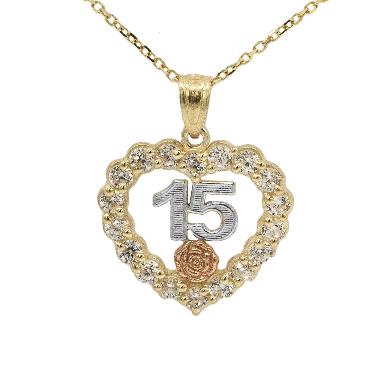 10k Tri-Color Gold Quince Anos Heart Pendant (20'' Mariner Chain)