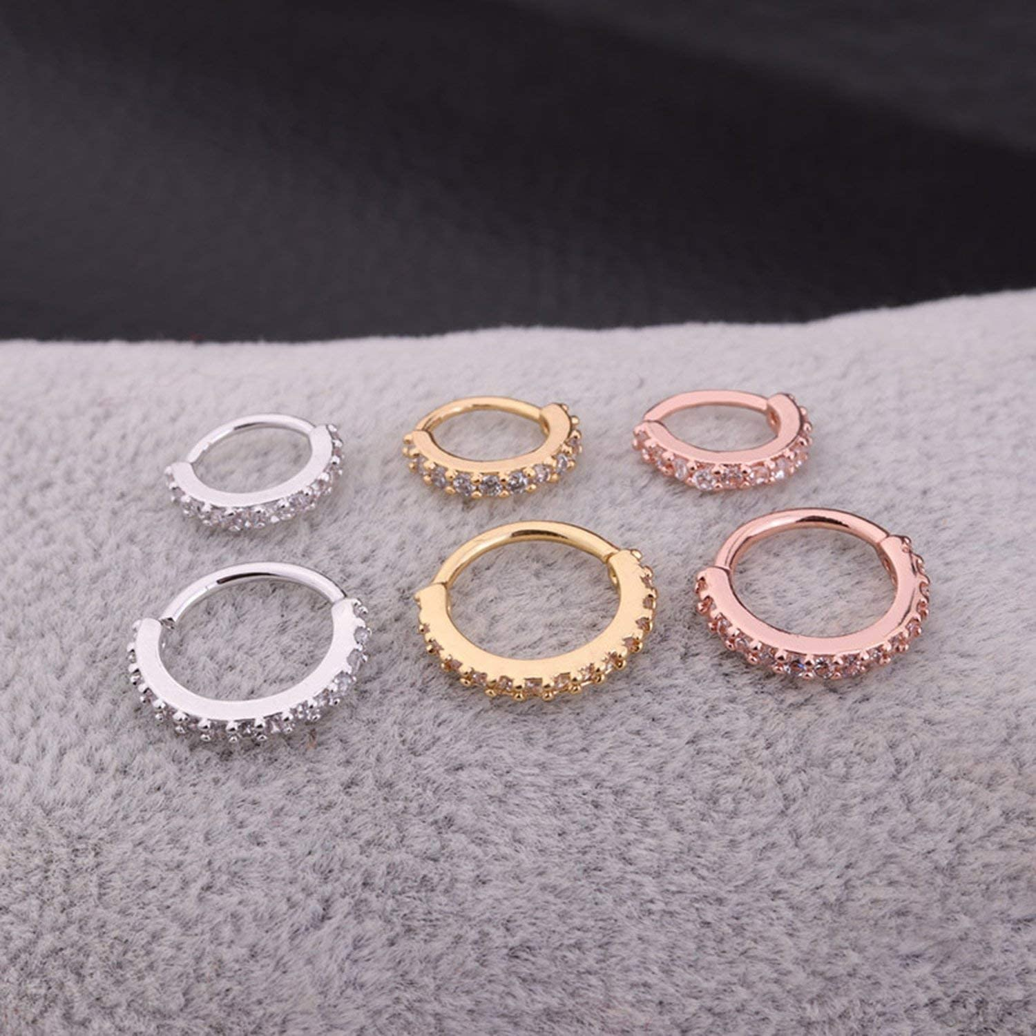 Nose Stud 1Pc Nose Hoop Helix Cartilage Earring,8Mm,Silver