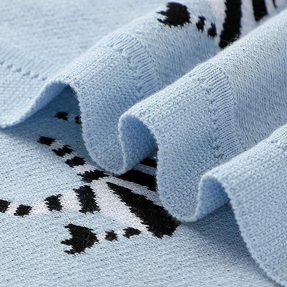 Zebra Grey mimixiong 100/% Cotton Soft Knit Baby Blanket