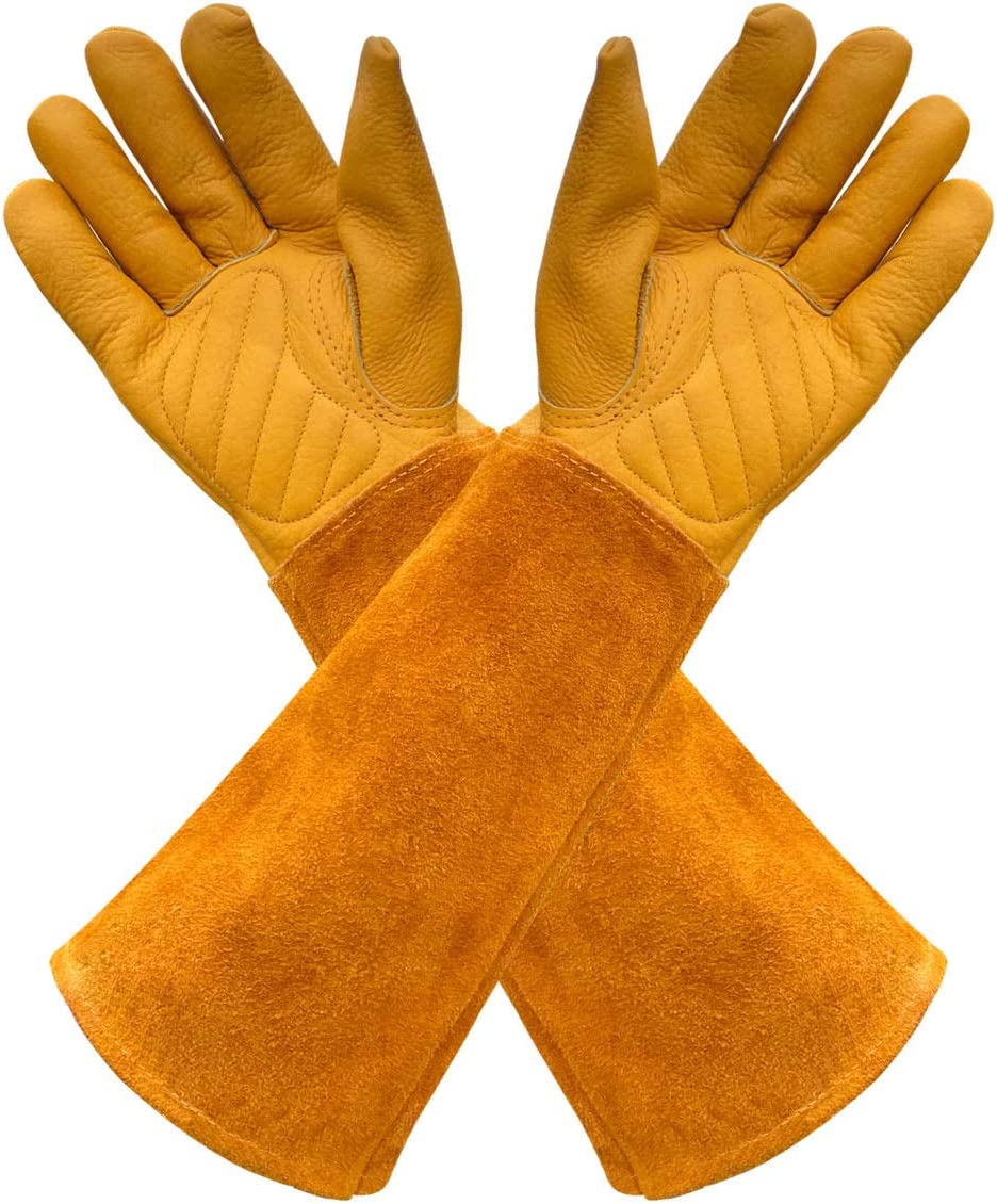 Gardens Leather Gardening Gloves for Women and Men | Thorn and Cut Proof Garden Work Gloves with Long Heavy Duty Gauntlet | Suitable For Thorny Bushes Cacti Rose (Large, Yellow)