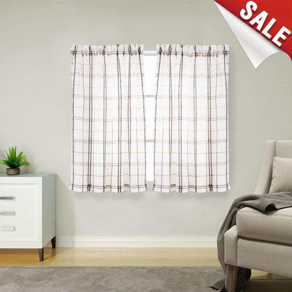 White check kitchen tiers linen look black and taupe gingham half window bathroom curtains classic