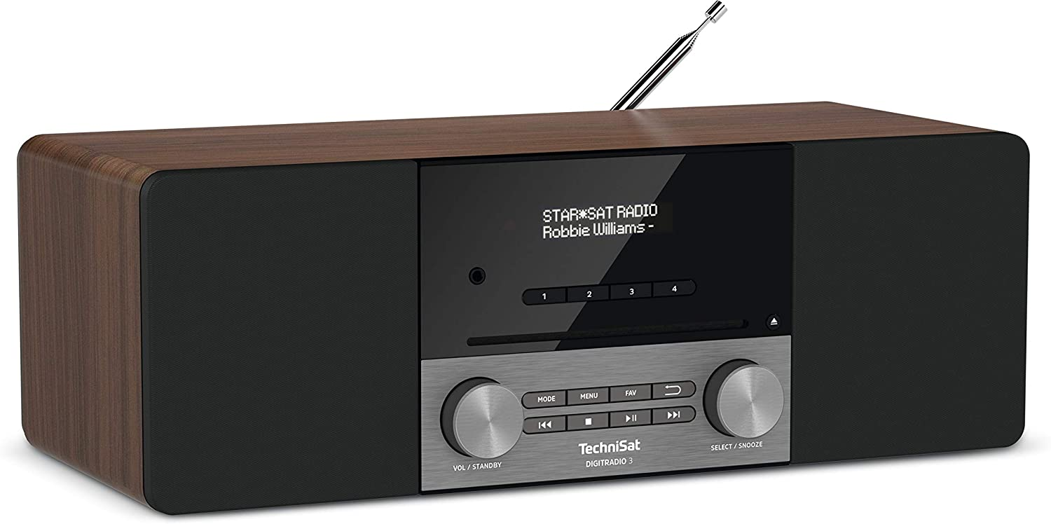 Eiche Kompaktanlage TechniSat Digitradio 3 Stereo DAB Radio DAB+, UKW, CD-Player, Bluetooth, USB, Kopfh/öreranschluss, AUX-Eingang, Radiowecker, OLED Display, 20 Watt RMS