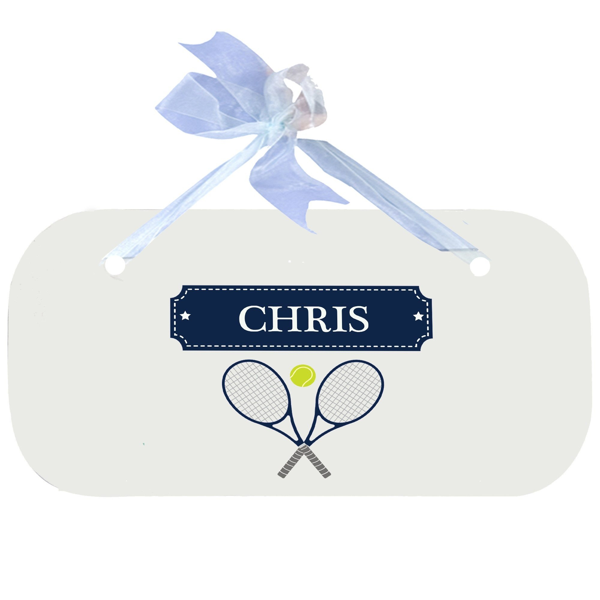 Personalized Tennis Wooden Door Hanger With Blue Ribbon by MyBambino (Image #1)