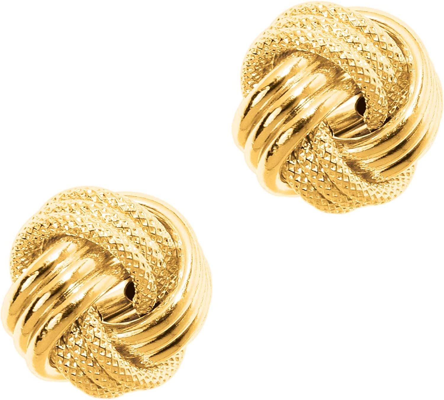 14K Yellow Gold Textured Shiny 3 Row Large Love Knot Earrings by IcedTime
