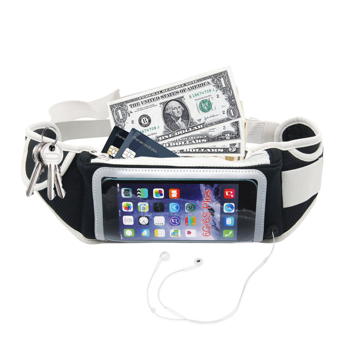 Running Belt Bag with Touchscreen Black Waterproof Slim Fit Belt for Iphone 7/7 Plus 6/6s/6 Plus Size Below 5. 5 inch for Gym Workouts Exercise Cycling Walking Jogging Yoga port, Outdoor Activities