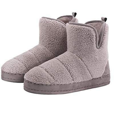 Womens Ladies Slip On Warm Fleece Fur Lined Slipper Ankle Boots Booties Bootee