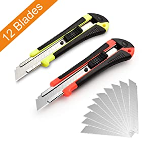 Retractable Utility Knife, 12 Blades, Premium Rubbered Handle, Box Cutter, Wide Razor, Smooth Mechanism, Office and Home use, for Cartons/Rope/Cable Ties/Handcraft, Random Color, by Lambery