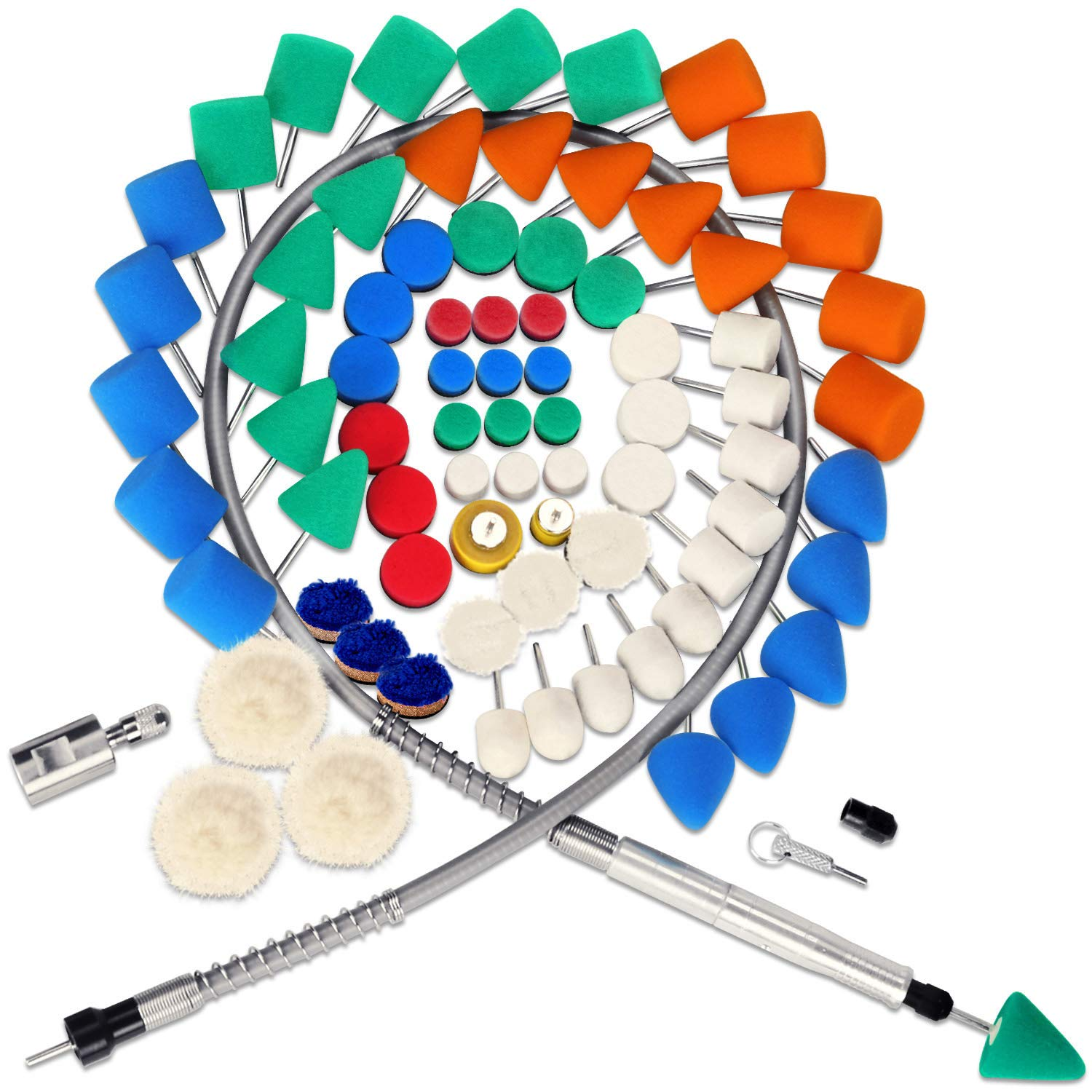 SPTA 78Pcs Mini Detail Polisher With Assorted Pads Polishing Foam Pad Kit, Used on Rotary tools/Polisher, Electric Drill for RMetal Aluminum, Stainless Steel, Chrome, Jewelry, Plastic, Ceramic, Glass