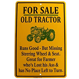 TG LLC for Sale Old Tractor Funny Metal Sign US Made Novelty Garage Shop Bar Wall Decor