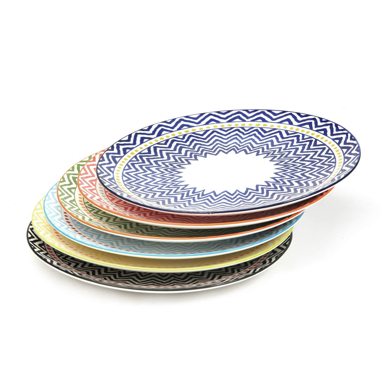 Bloom Flower Porcelain Dinner Plates Set for Pasta, Service for 6, Assorted Colors, 10.3 Inch, FDA Approved (Plates)