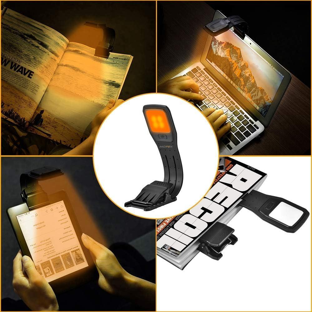 Deeabo Wiederaufladbare Buchleuchte aufsteckbare Leselampe Tragbare 4-stufige Helligkeitslampe USB-Aufladung 4 LED-Leselampe Superhelle und flexible Licht-Augenpflegelampe