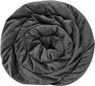 BlanQuil Quilted Weighted Blanket W/Removable Cover (Charcoal 15lb)