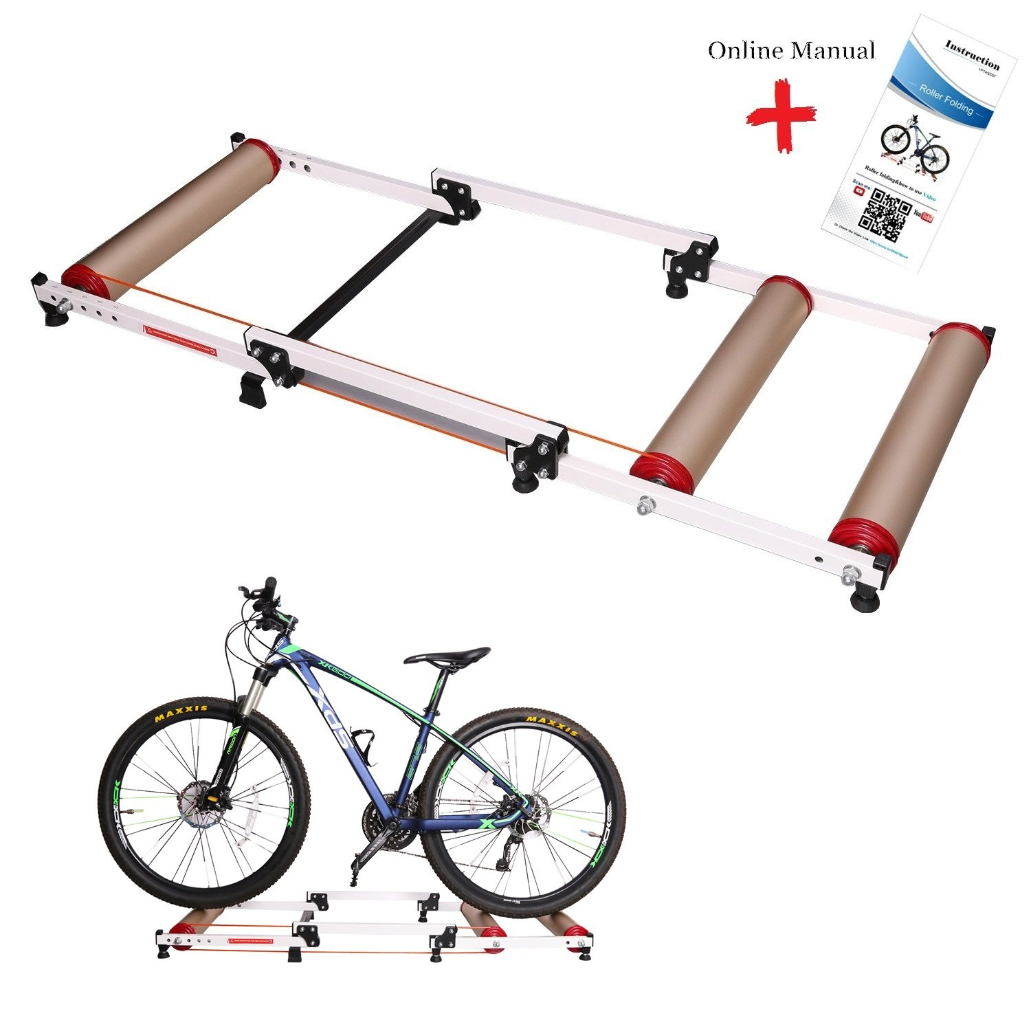 West Biking Foldable Indoor Bike Rollers for Exercise, Bike Resistance Trainers Parabolic roller drum profile