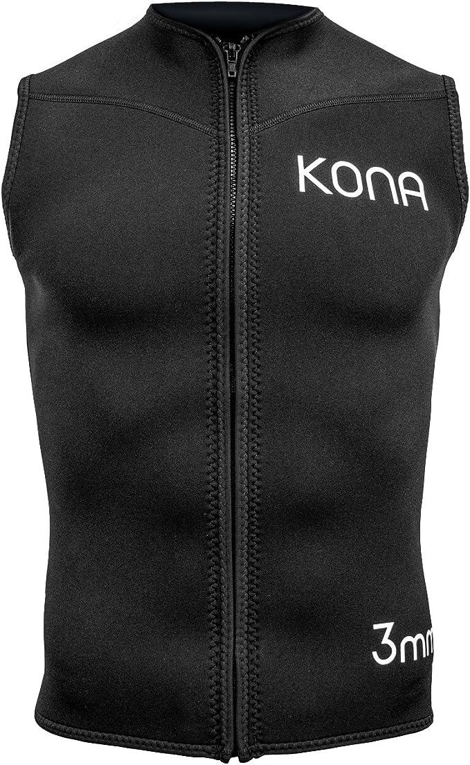 Kona Mens Zipper Diving Vest Wetsuit Top Premium Neoprene 3mm Black