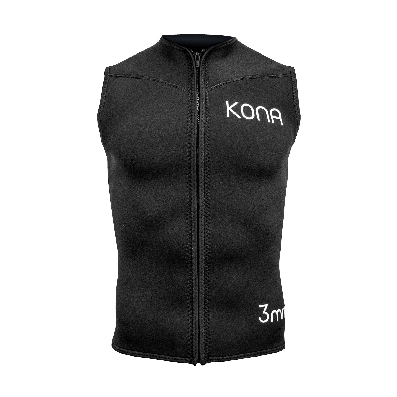 Kona Mens Zipper Diving Vest Wetsuit Top Premium Neoprene 3mm - Black (X-Large) by Kona
