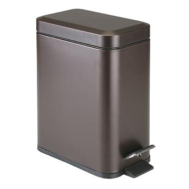 mDesign 5 Liter Rectangular Small Steel Step Trash Can Wastebasket, Garbage Container Bin for Bathroom, Powder Room, Bedroom, Kitchen, Craft Room, Office - Removable Liner Bucket - Bronze