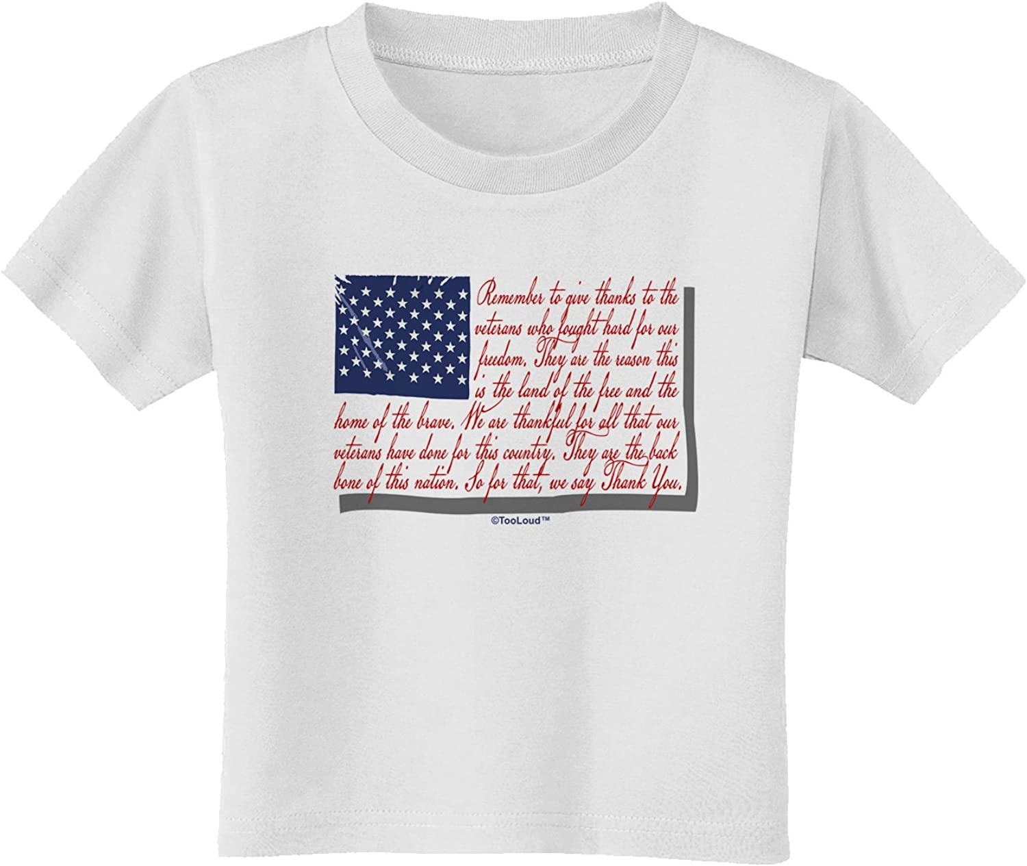 TooLoud Veterans Scripted Flag Toddler T-Shirt