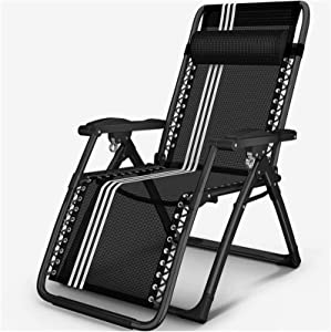 TUHFG Recliner Garden Loungers and Recliners Outdoor Furniture Folding Bed with Cushion Black Adjustable Deck Chairs for Beach Pool Patio Camping 200 Kg Max (Color : Without Cushion)