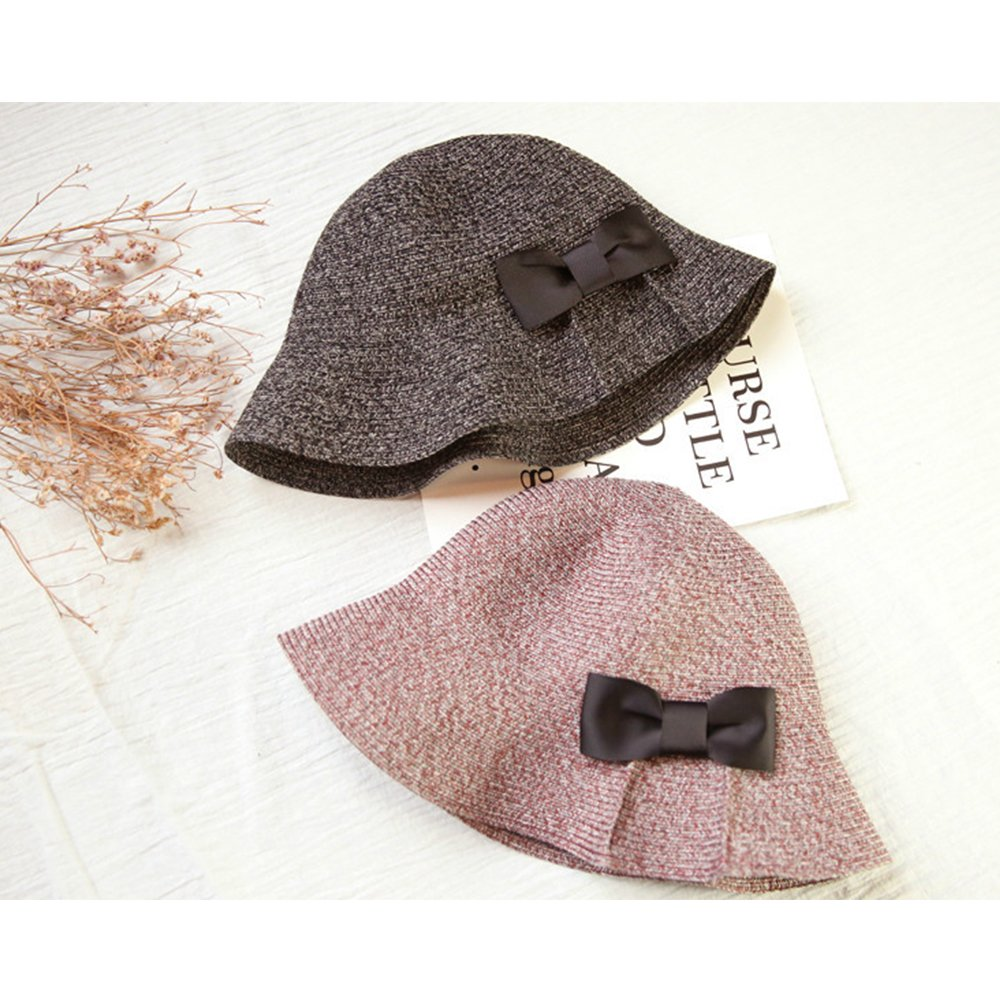 TiTa-Dong Girls Handmade Foldable Caps Woven Sun Protect Straw Hat Bow Tie Outdoor Wear