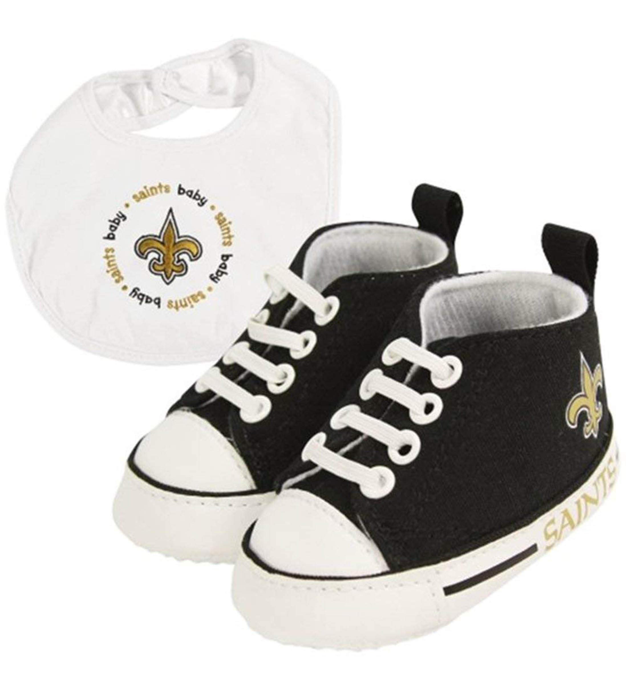 Mozlly Multipack - Baby Fanatic New Orleans Saints Feeding Bib with Pre-Walker High Top Shoes (3pc Set) (Pack of 3)
