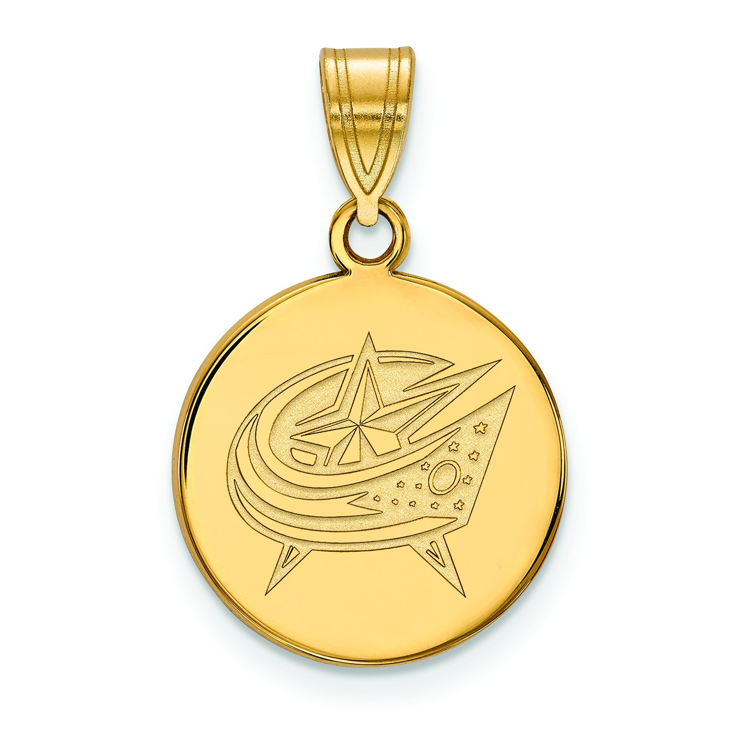 Columbus Blue Jackets Large (3/4 Inch) Disc Pendant (10k Yellow Gold) by LogoArt