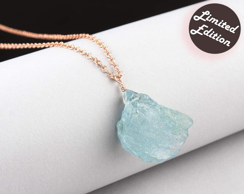 Collar de piedras preciosas de aguamarina cruda, piedra de aguamarina natural, collar de piedras preciosas crudas, delicado, regalo de Navidad