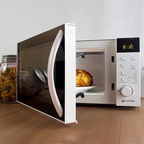 Grunkel - Microondas digital con grill blanco de 20 litros de capacidad y 700W. 6 niveles de potencia y 2 niveles de combinado, función descongelación ...