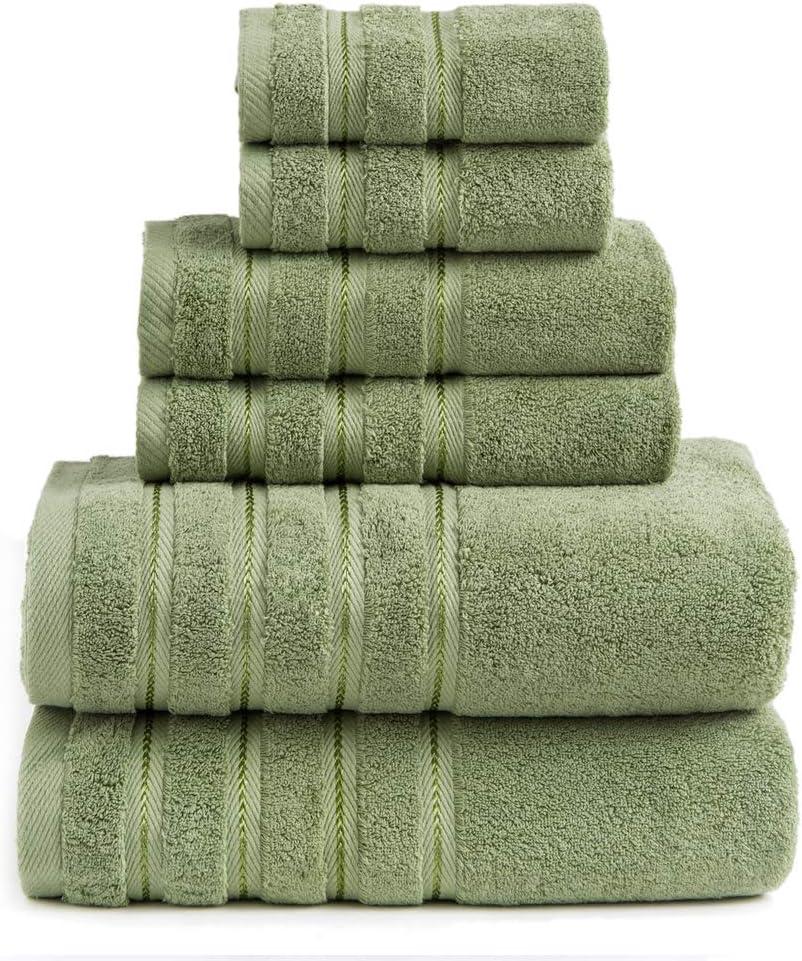 Sofi 2020 New 700 GSM Premium Bathroom Towels sets clearance Turkishplush Bath Towel Set 6 PieceSage Green