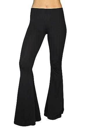 5f4dcba4194d72 Daisy Del Sol Comfy Lightweight Stretch Vintage 70s Bell Bottom Flare  Lounge Yoga Pants (Black