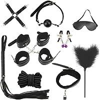 Juguetes de Adultos Pareja 10 pcs Restricciones Cama SM Kits Bondage Negro Collar Látigo