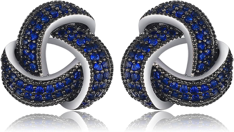 JewelryPalace Pendientes lujoso adornado Espinela azul creado en Plata de ley 925