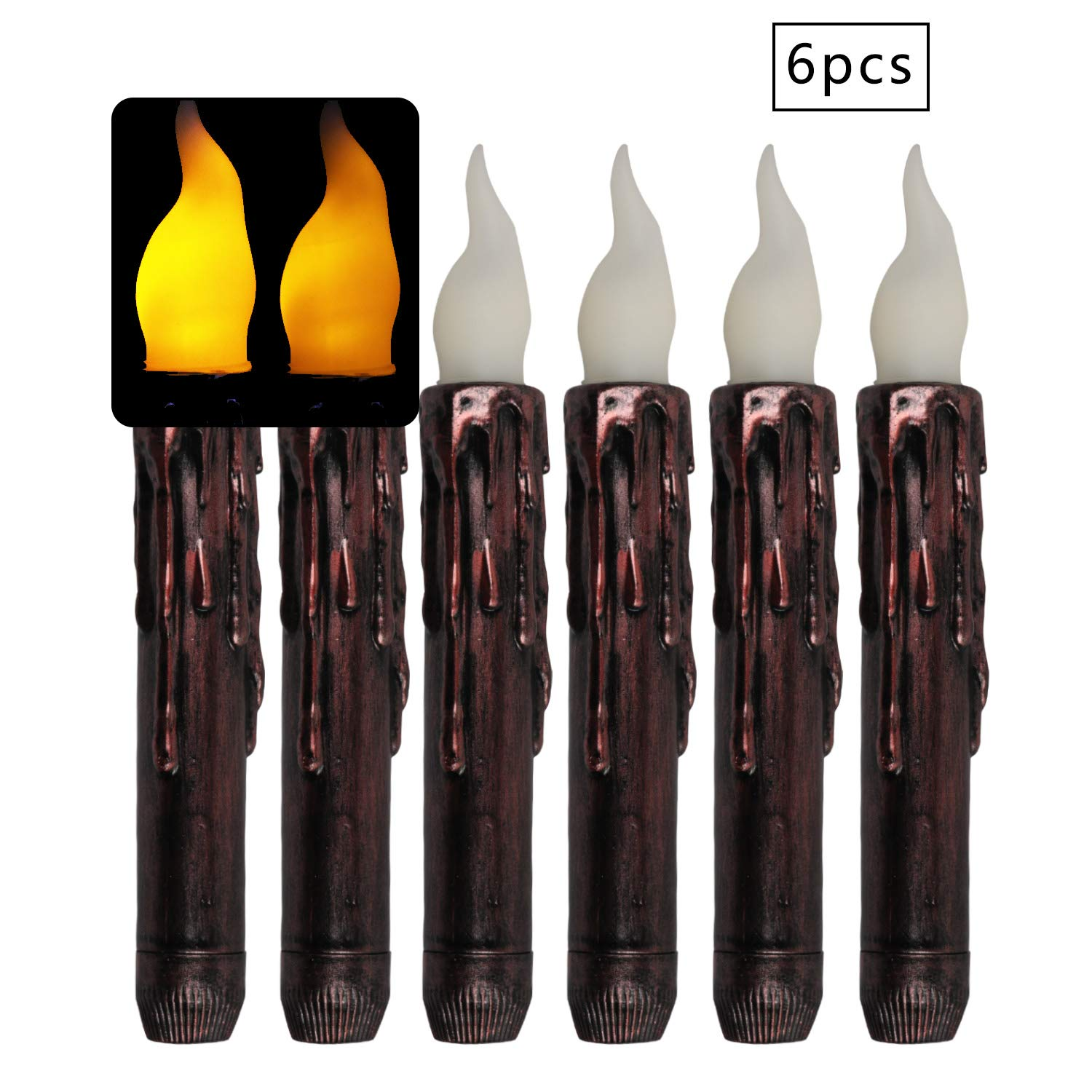 Dreaweet 6 Pack Amber Battery LED Taper Lights, Flameless Flickering Electric Fake Candle for Votive, Wedding, Party, Table, Dining Room, Bars, Hotel, Birthday, Holidays, New Year,Honeymoon